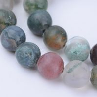 15 Natural Indian Agate Beads Frosted, Round, 8~8.5mm, Hole: 1mm;